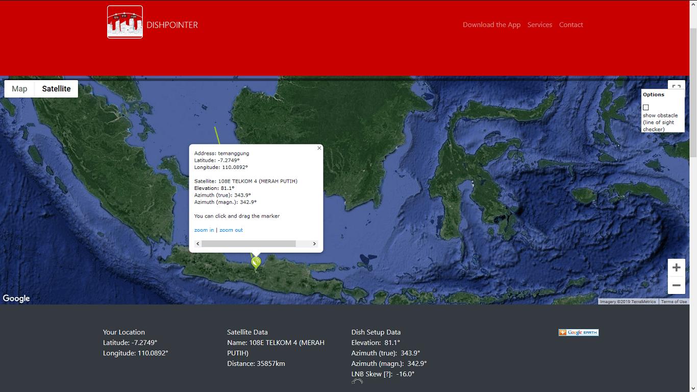 Arah Satelit Telkom 4 dari Kabupaten Temanggung