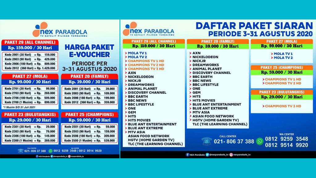 Daftar Paket NEX Parabola Terbaru dan Channel Lokal Gratis Agustus 2020