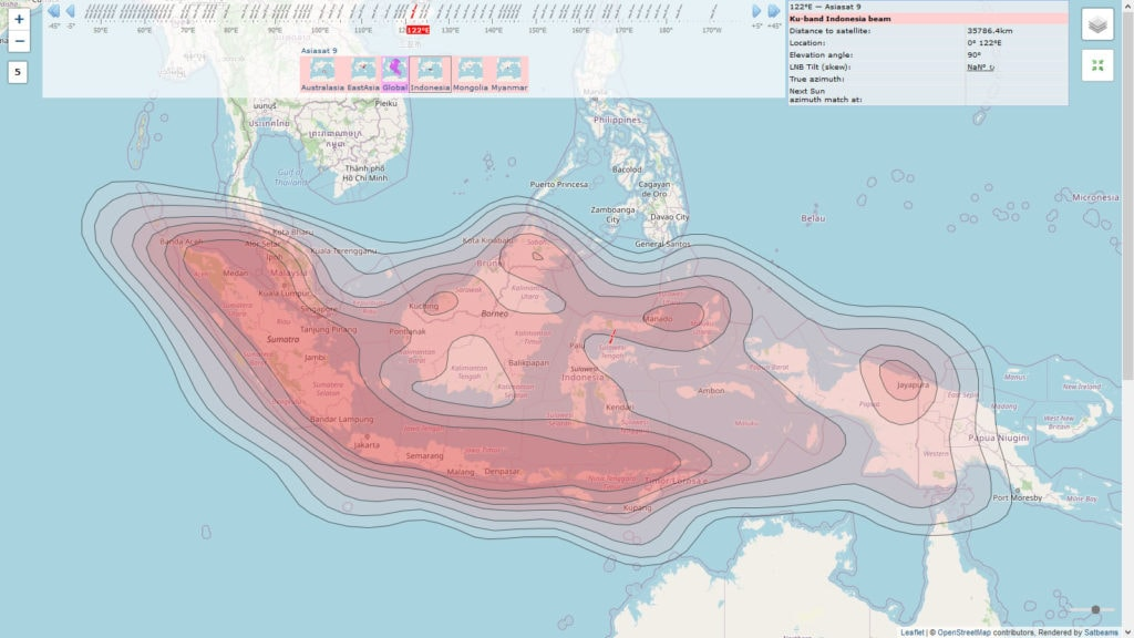 Jangkauan Satelit Asiasat 9 Satbeam untuk Ninmedia