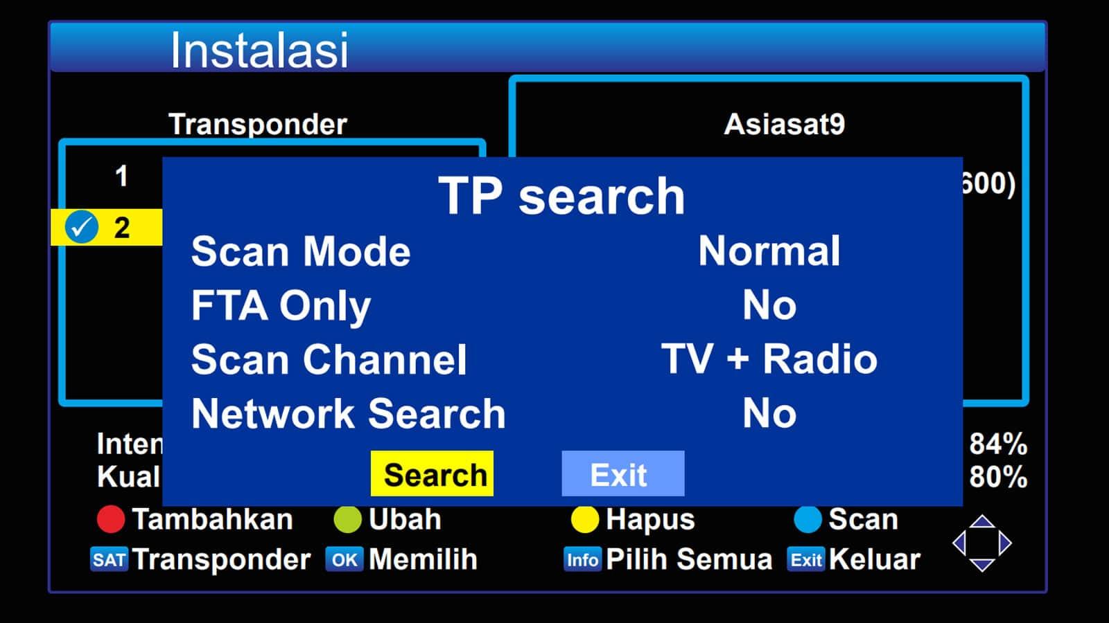 Memindai Transponder Asiasat 9