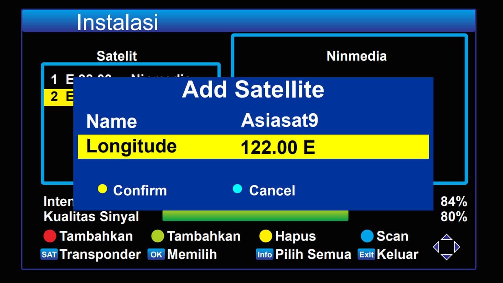 Menambahkan satelit Asiasat 9 di receiver