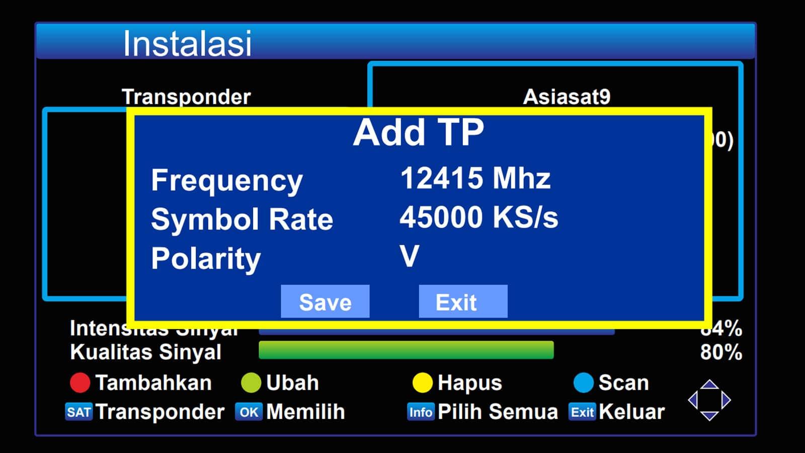Menambahkan transponder baru Asiasat 9