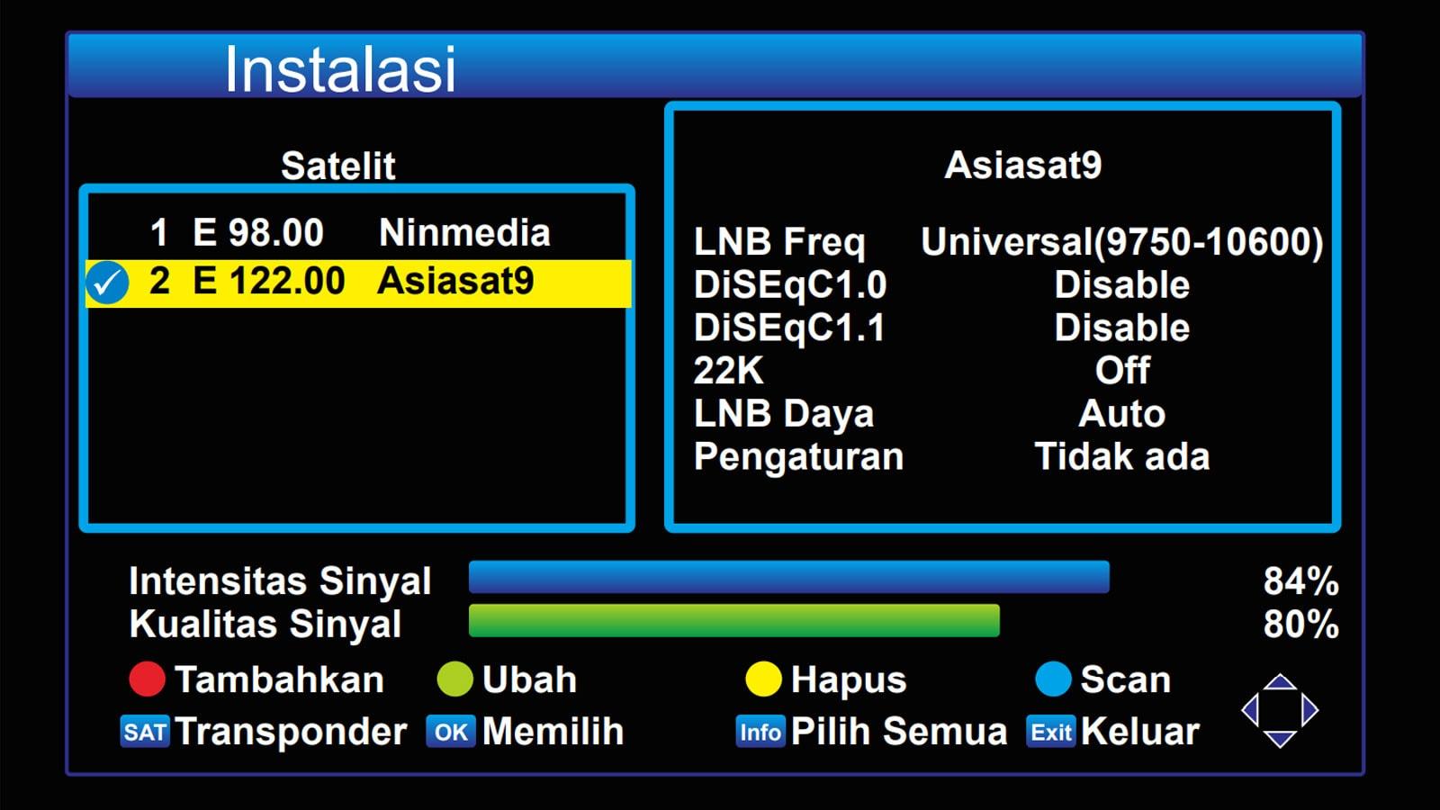 Mengubah pengaturan antena Asiasat 9